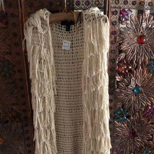 NWT Forever 21 Cream Fringe Vest